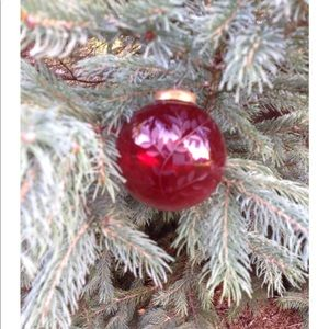 Vintage Ruby Red Glass Ornament / Round Ruby Red